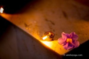 puja lamp with flower