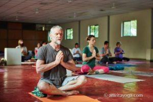 meditation asana with namaste