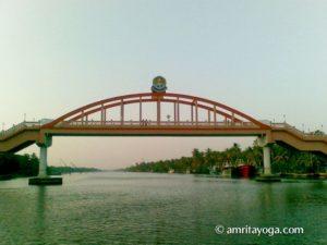 The Amrita Setu (peace) bridge and Amritapuri ashram