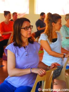 seated twist pose at amrita yoga retreat