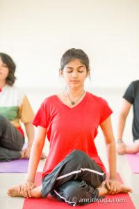 asana practice at amrita yoga program