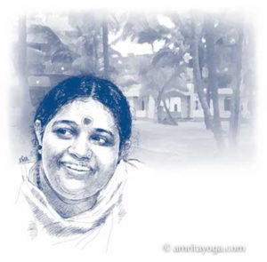 drawing of Amma with village scene