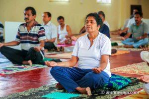 meditation pose at amrita yoga retreat
