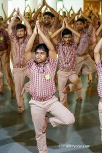 amrita yoga tree pose young student