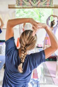 standing yoga pose at amrita yoga shiva-shakti retreat
