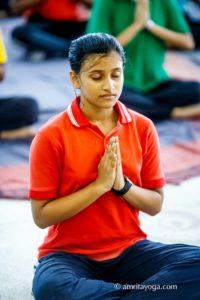 meditation pose and namaste pose