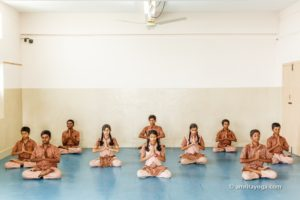 group padmasana and namaste pose