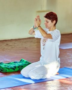 seated position namaste prayer