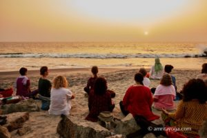 amritapuri beach meditation sunset