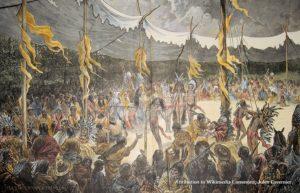 Native American Sun Dance ritual, engraving circa 1875