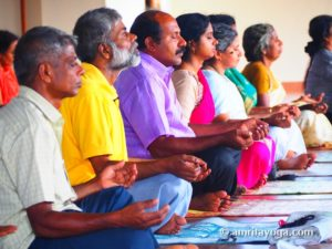 yoga class seated meditation