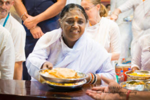 yoga of eating, amma serving food tiffin