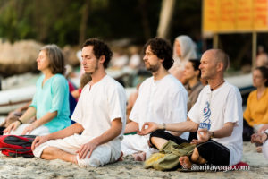 amrita yoga meditation on the amritapuri beach