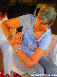 Twist pose at Amrita Yoga retreat