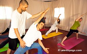amrita yoga asana class side bend pose