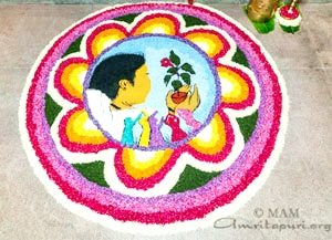 onam festival pookala flower design with amma image