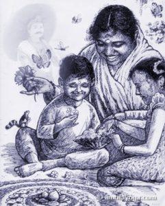 amma celebrating the onam festival with children