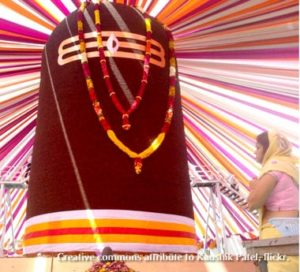 large shiva linga, maroon with garland