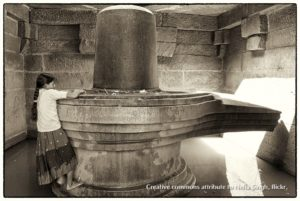 large shiva linga, grayscale photo