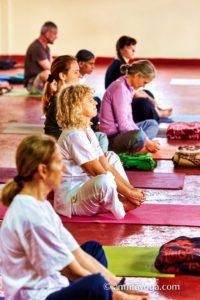 amrita yoga retreat program, seated stretch